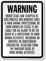 Texas Farm Liability Sign