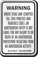 Texas Agritourism Liability Sign