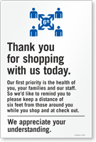 Thank You For Shopping With Us Today Sign Panel