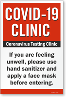Use Hand Sanitizer and Face mask Clinic Safety Sign