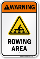 Warning Rowing Area Water Safety Sign