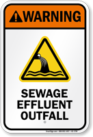 Warning Sewage Effluent Outfall Water Safety Sign