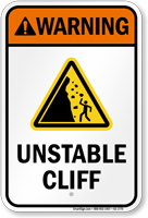 Warning Unstable Cliff Water Safety Sign