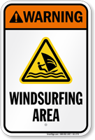 Warning Windsurfing Area Water Safety Sign