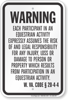 West Virginia Equine Liability Sign