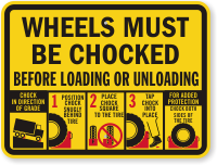 Wheels Must Be Chocked Before Loading Unloading Sign