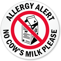 Allergy Alert No Cow's Milk Please Door Decal