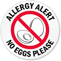 Allergy Alert No Eggs Please Door Decal