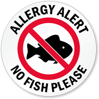Allergy Alert No Fish Please Door Decal