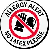 Allergy Alert No Latex Please Door Decal