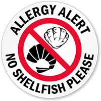 Allergy Alert No Shellfish Please Door Decal