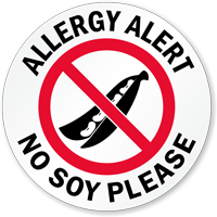 Allergy Alert No Soy Please Door Decal
