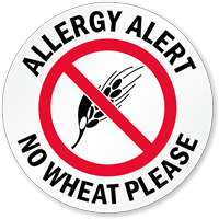 Allergy Alert No Wheat Please Door Decal