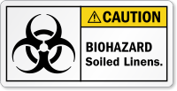 Biohazard Soiled Linens ANSI Caution Label