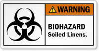 Biohazard Soiled Linens ANSI Warning Label