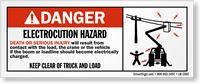 Danger Electrocution Hazard, Keep Clear with Graphic Label