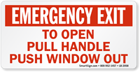 To Open Pull Handle Push Window Out Label