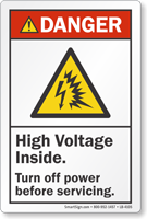 High Voltage Inside Turn Off Power ANSI Danger Label