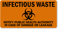 Infectious Waste Notify Public Health Authority Biohazard Label