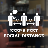 Keep 6 Feet Social Distance Die Cut Window Decal