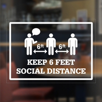 Keep 6 Feet Social Distance Window Decal