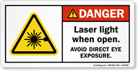 Laser Light When Open Avoid Eye Exposure Label