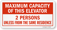 Maximum Capacity Of This Elevator Label