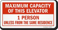 Maximum Capacity Of This Elevator Label