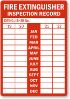 Annual Monthly Fire Extinguisher Inspection Record Label