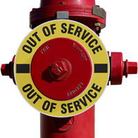 Out Of Service Fire Hydrant Ring - Black on Yellow