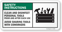 Safety Instructions Clean And Disinfect Personal Tools Sign
