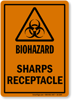 Sharps Receptacle Biohazard Label