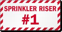 Sprinkler Riser #1 In Case Of Emergency Label