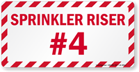 Sprinkler Riser #4 Fire Safety Label