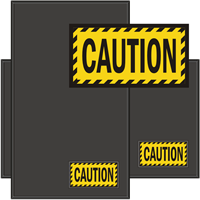 Caution Classic Fashion Sign Mat with Striped Border