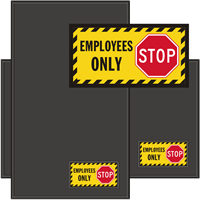 Employees Only Stop Sign Mat with Striped Border