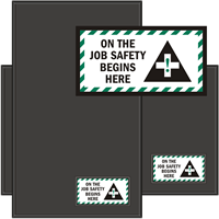On The Job Safety Begins Here Sign Mat
