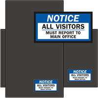 Visitors Must Report To Main Office Sign Mat