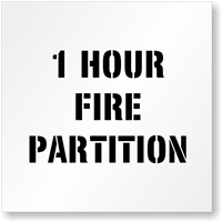 1 Hour Fire Partition Fire Safety Stencil