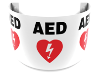 180 Degree Projecting AED Sign with graphic