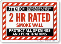 2 Hour Smoke Protect Openings And Penetrations Wall Sign