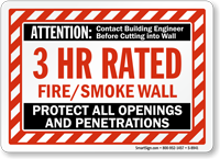 3 Hour Fire Protect All Openings Wall Sign