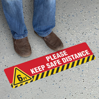 6ft Please Keep Safe Distance SlipSafe Floor Sign