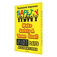 Teamwork Improves Safety Sign