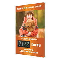 Safety Is A Family Value (Boy and Dog) Sign