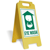 Emergency Eye Wash with Graphic Free-Standing Sign