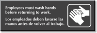 Employees Must Wash Hands Bilingual Sign