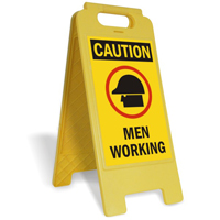 Caution Men Working W/Graphic Fold-Ups® Floor Sign