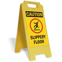 Caution Slippery Floor W/Graphic Fold-Ups® Floor Sign