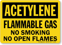 Acetylene Flammable Gas Smoking Flames Sign